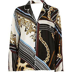 Zwarte pyjamatop met sjaalprint