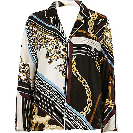 Black scarf print pyjama top