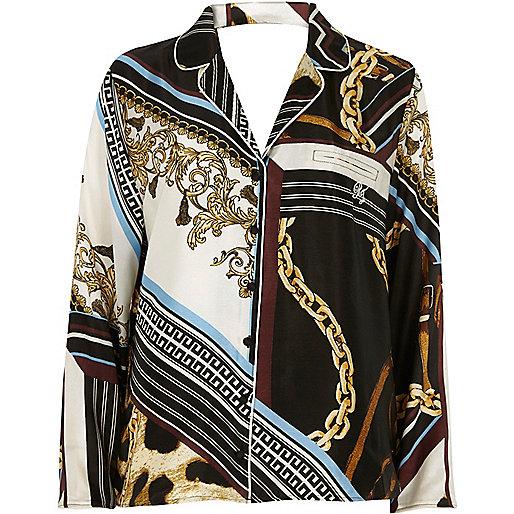 Black scarf print pajama top