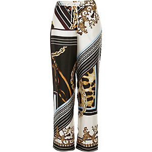 Black scarf print pajama pants