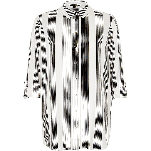 Grey stripe relaxed fit shirt