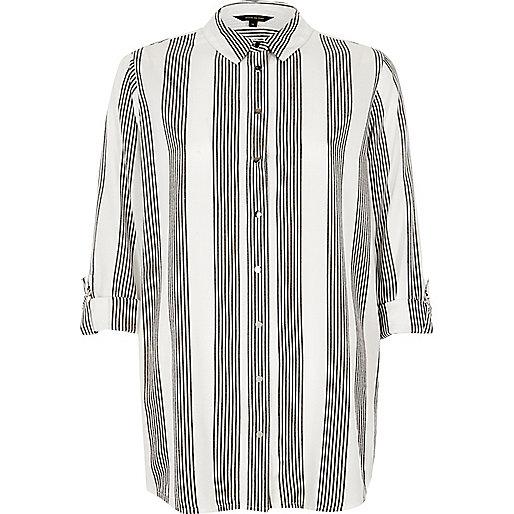 Chemise rayée grise coupe décontractée