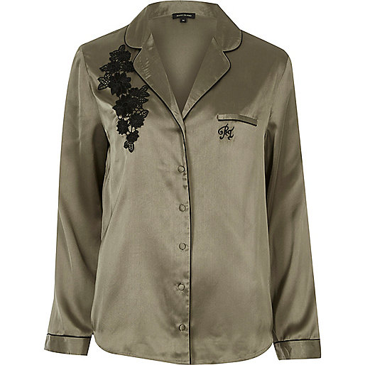 Khaki embroidered pyjama shirt