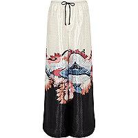 Pantalon palazzo de pyjama à imprimé oriental crème