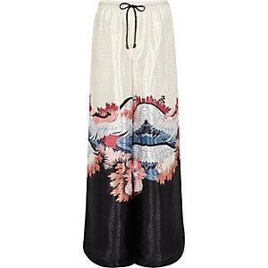 Cream oriental print palazzo pajama pants