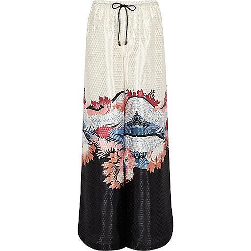 Cream oriental print palazzo pyjama trousers