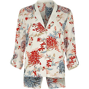 White floral print split back pajama shirt