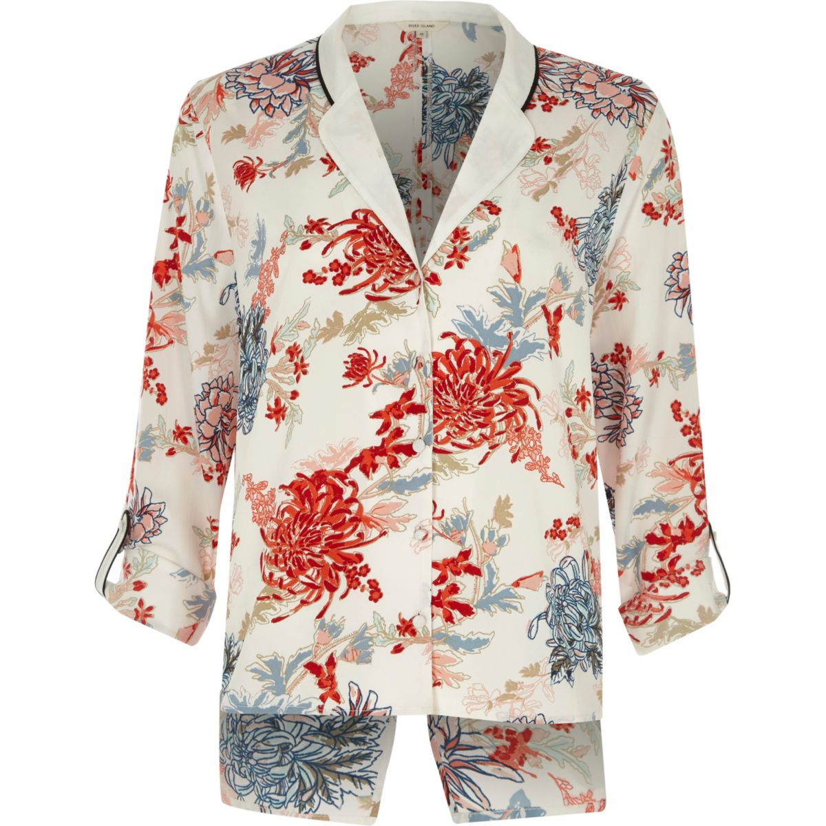 White floral print split back pyjama shirt