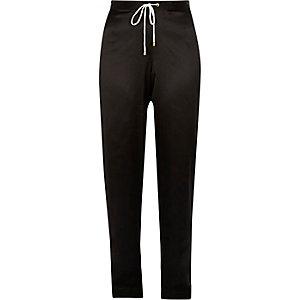 Black satin floral panel pajama pants