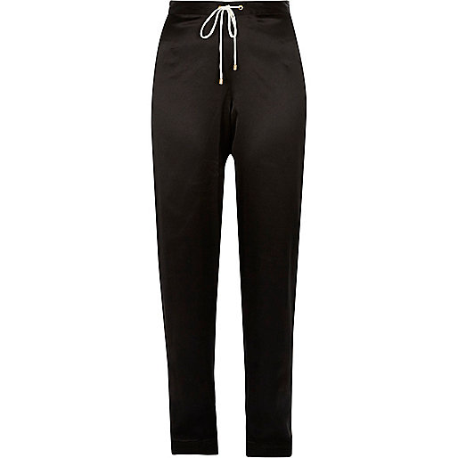 Black satin floral panel pyjama trousers