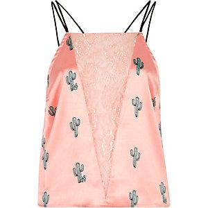 Roze satijnen cami pyjamatop met kanten inzetstuk en cactus