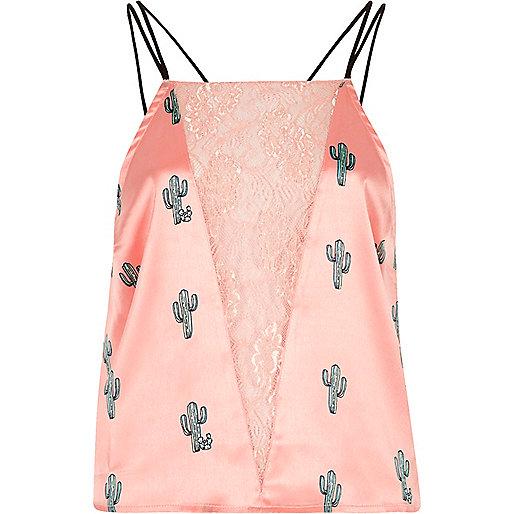 Pink satin cactus lace insert cami pajama top