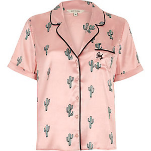 Pink cactus print short sleeve pyjama shirt