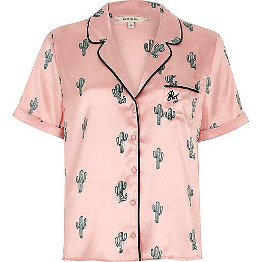 Pink cactus print short sleeve pajama shirt