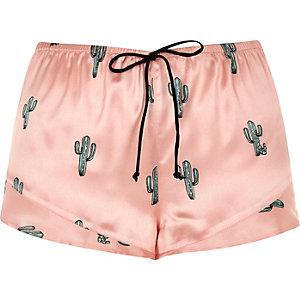 Roze pyjamashort met cactusprint