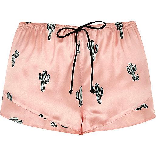 Pink cactus print pyjama shorts