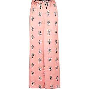 Pink cactus print pyjama trousers