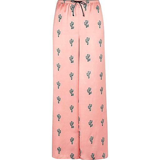 Pink cactus print pajama pants