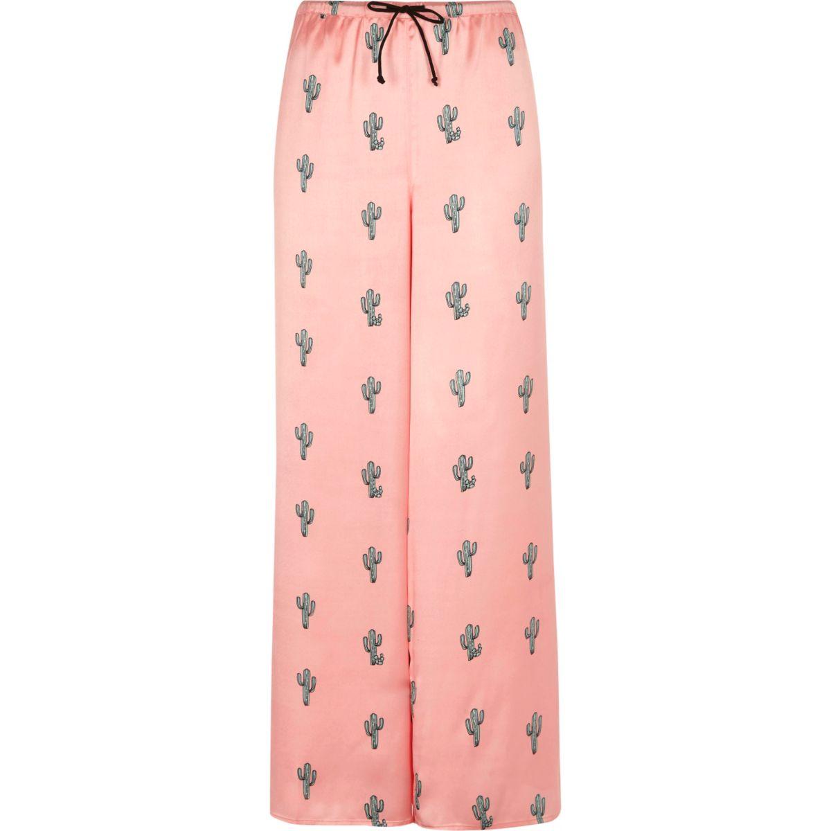 Rosa Pyjamahose mit Kaktusmuster
