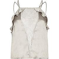 Grey lace panel frill cami pyjama top