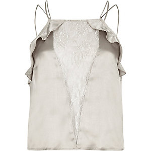 Grey lace panel frill cami pajama top