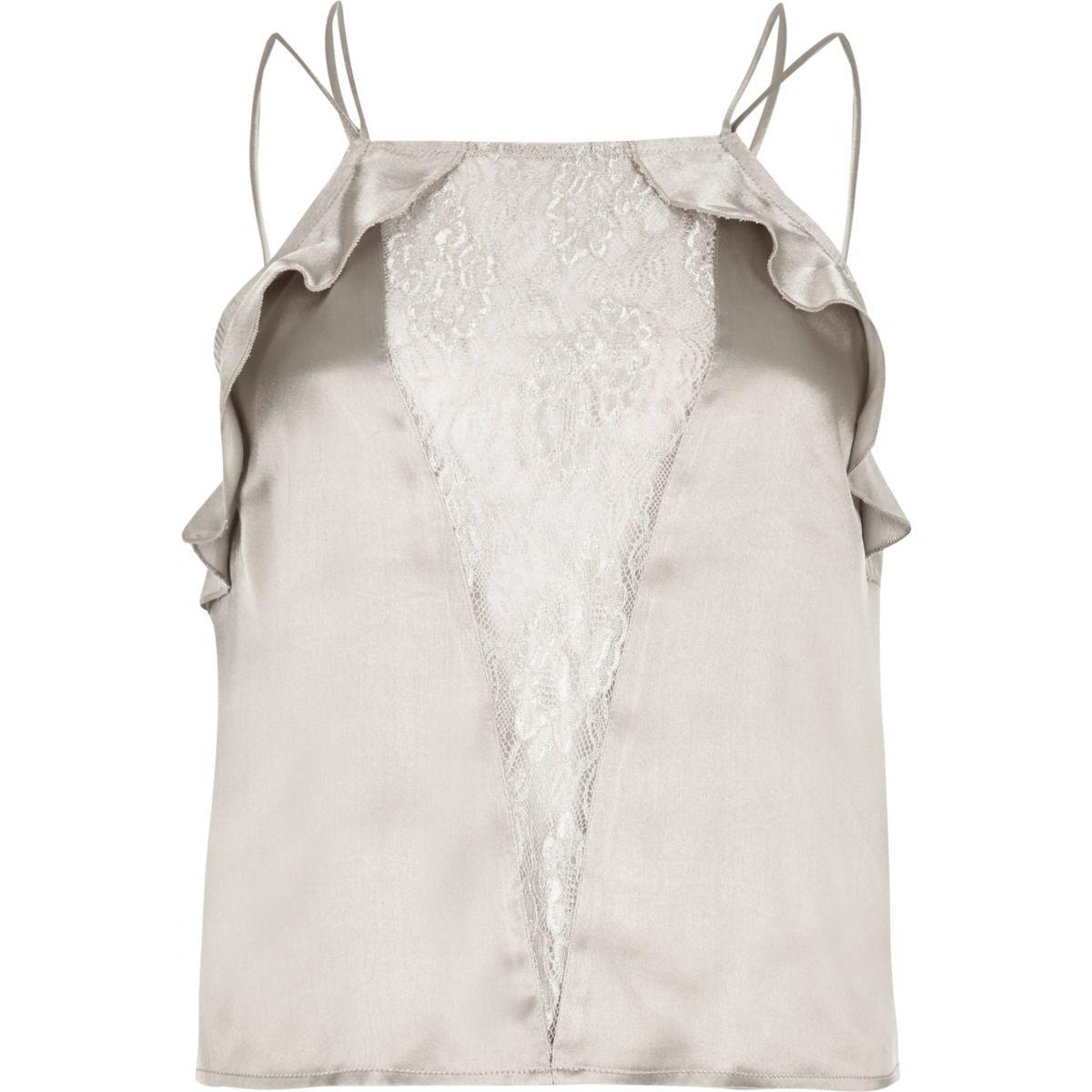 Grey lace panel frill cami pajama top