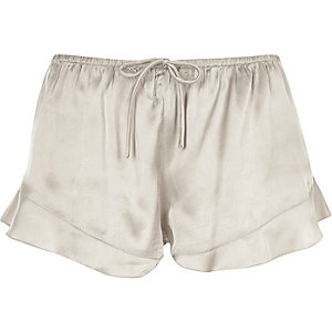 Grey satin frill hem pajama shorts