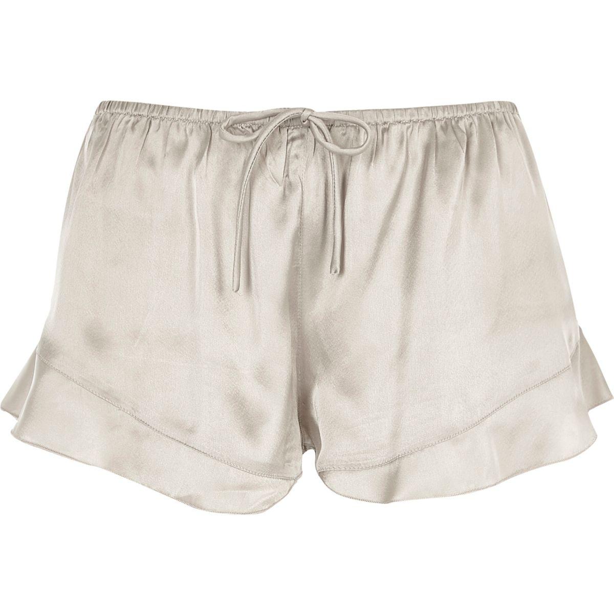 Grey satin frill hem pajama shorts