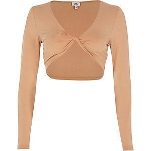 Beige twist front long sleeve crop top