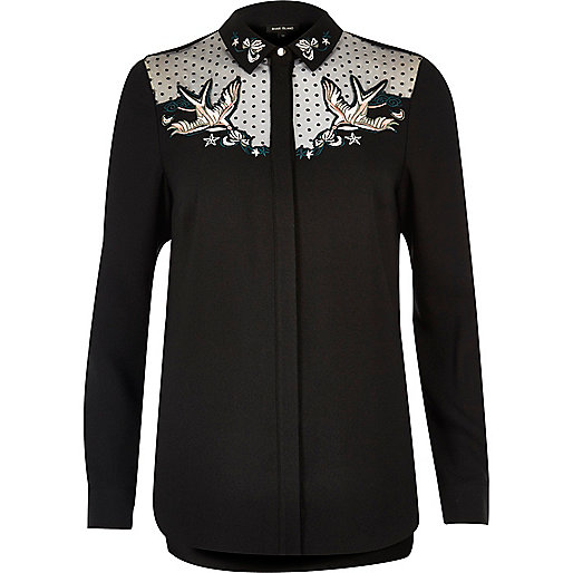 Black swallow embroidered mesh collar shirt