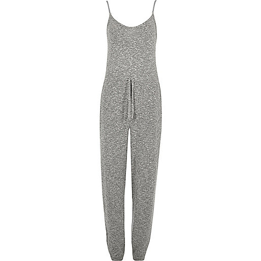 Grey knit drawstring waist jumpsuit