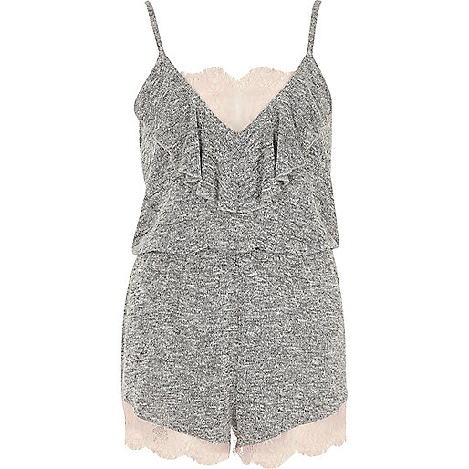 Grey marl lace romper