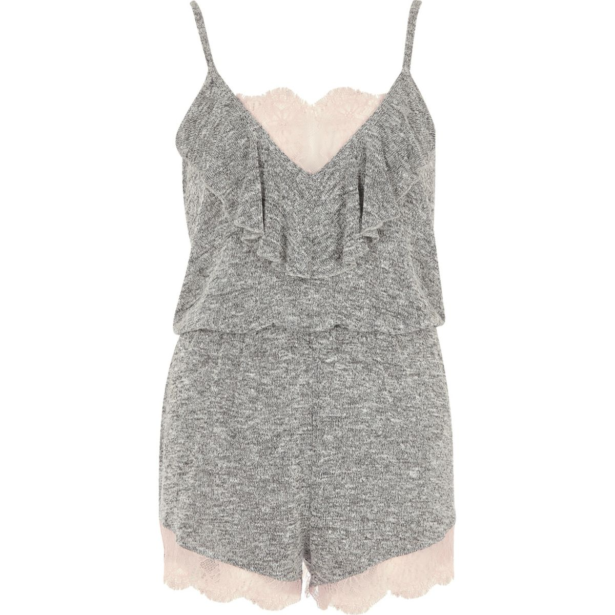 Grey marl lace playsuit
