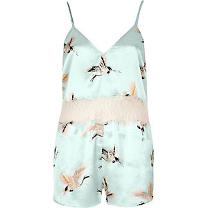 Mint green bird print lace insert romper