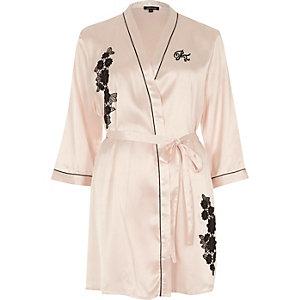 Blush pink floral appliqué robe