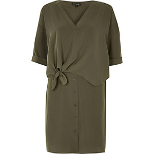 Khaki tie front shirt dress