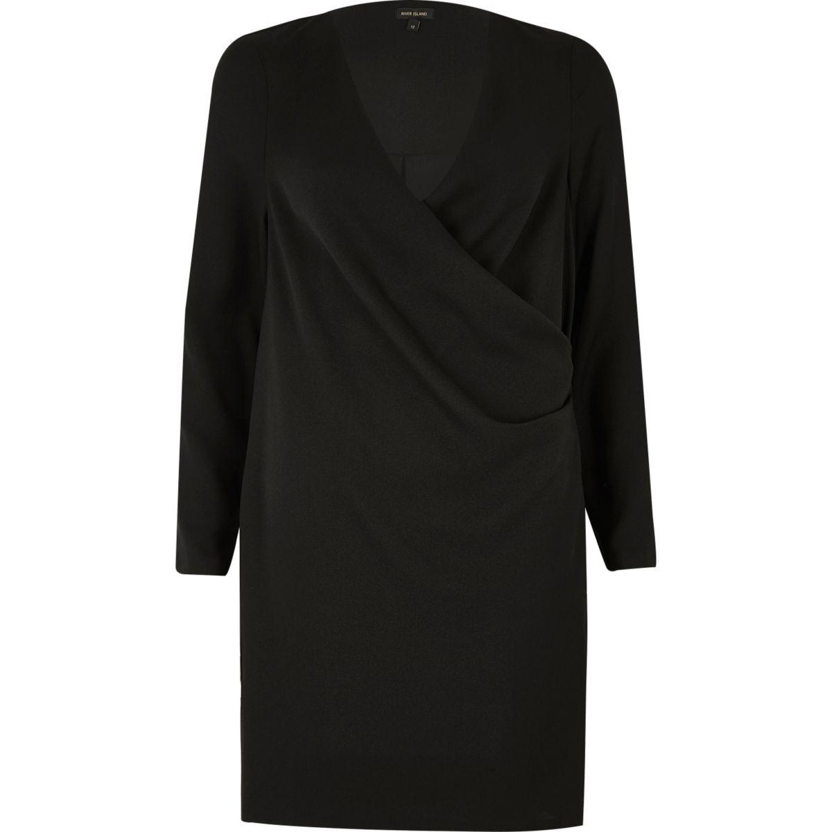 Schwarzes, drapiertes Swing-Kleid