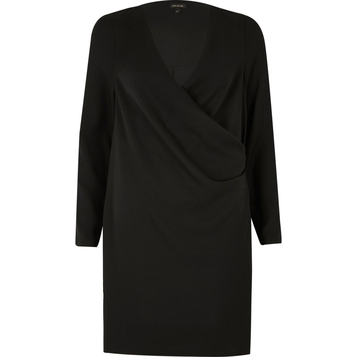 Robe évasée noire drapée