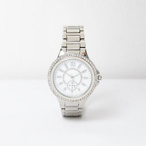 Silver diamanté dial watch