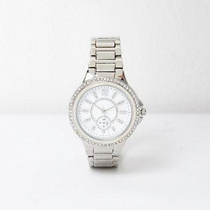 Zilverkleurig horloge met wijzerplaat versierd met stras