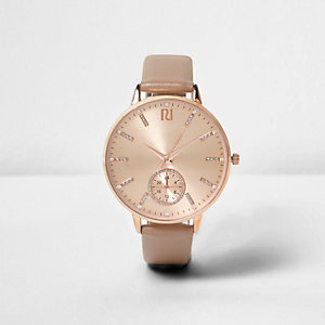 Rose gold tone diamanté detail watch