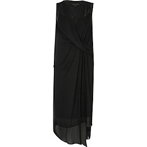 Black drape front swing dress