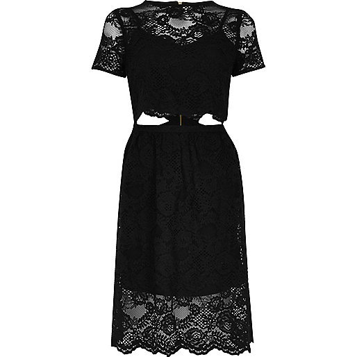 Black lace trim cut-out midi dress