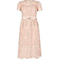 Blush pink lace trim cut-out midi dress