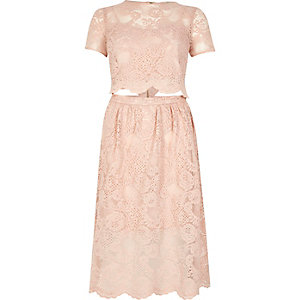 Blush pink lace trim cut-out midi dress