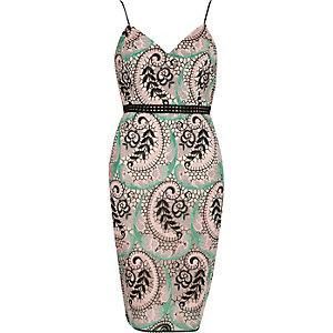 Green plant print lace panel bodycon dress