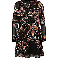 Black floral print smock wrap dress