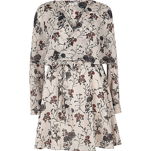 Cream floral print smock wrap dress