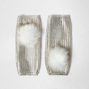 Crème-metallic vingerloze handschoenen met pompons