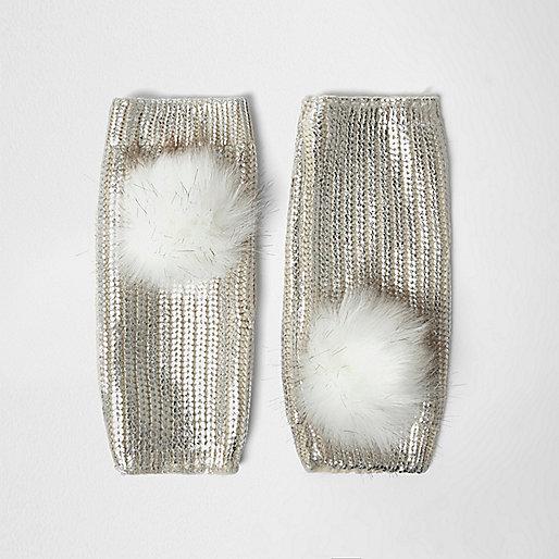 Cream metallic knit pom pom handwarmers